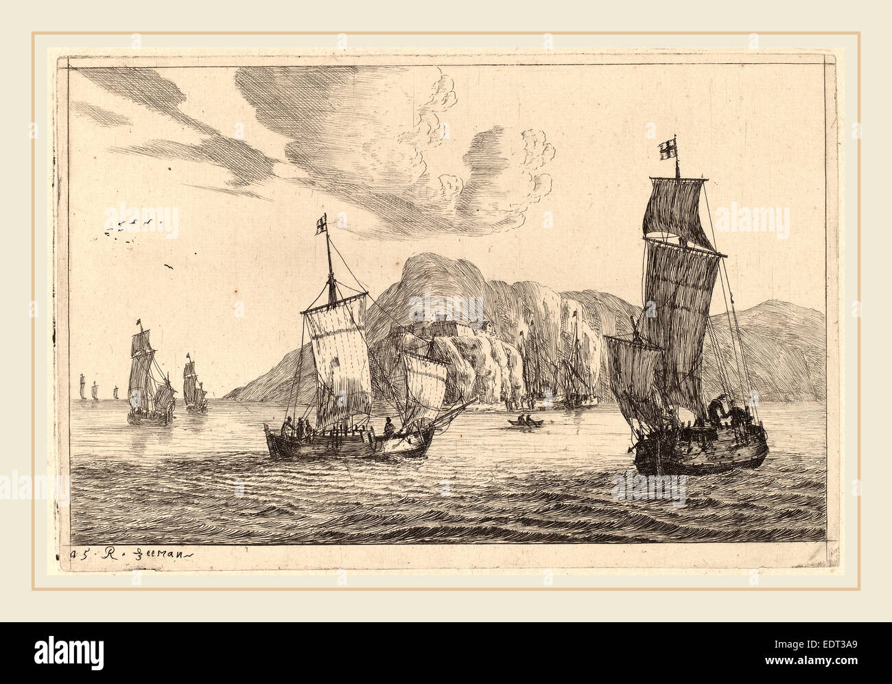 Reinier Nooms, called Zeeman (Dutch, 1624-1664), Harbor Scene with Mountainous Background, probably c. 1656, etching - Stock Image