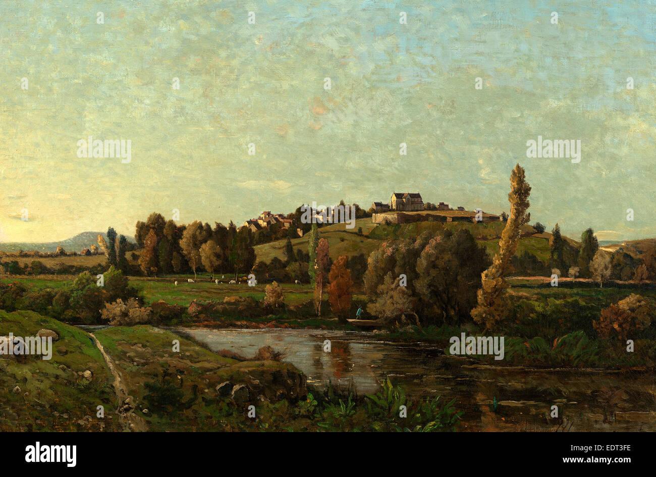 Henri-Joseph Harpignies (French, 1819 - 1916), Landscape in Auvergne, 1870, oil on canvas - Stock Image