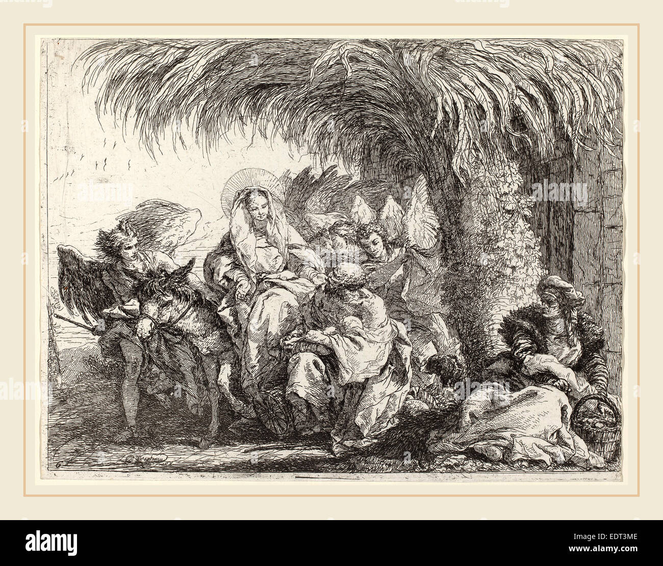 Giovanni Domenico Tiepolo (Italian, 1727-1804), Joseph Kneels with the  Child before Mary on the Donkey, published 1753, etching