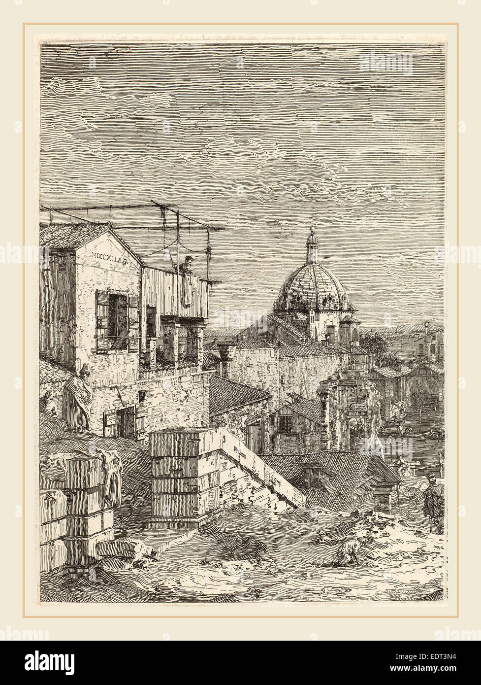 Canaletto (Italian, 1697-1768), The House with the Inscription [left], 1741, etching - Stock Image