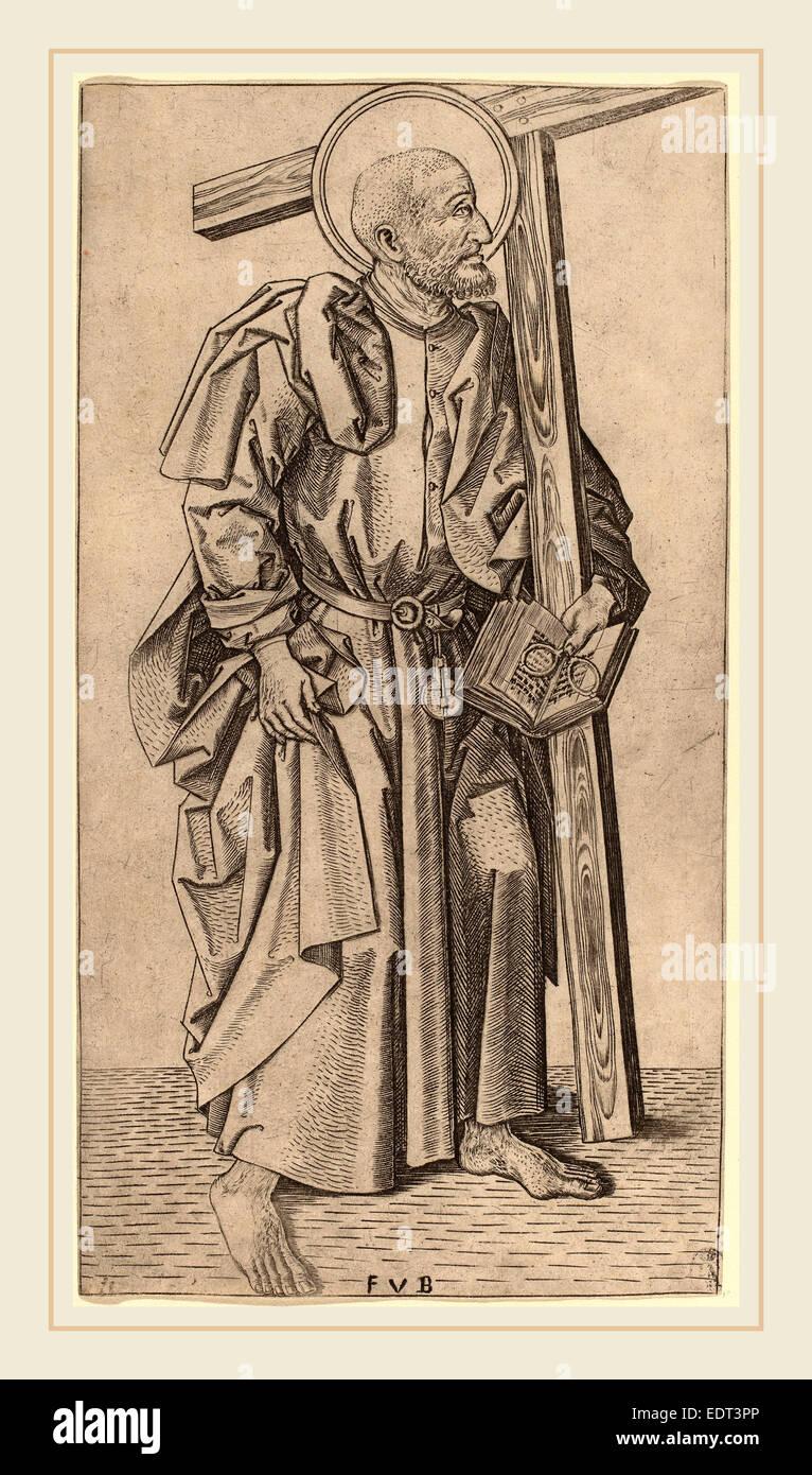 Master FVB (Flemish, active c. 1480-1500), Saint Simon, c. 1490-1500, engraving - Stock Image