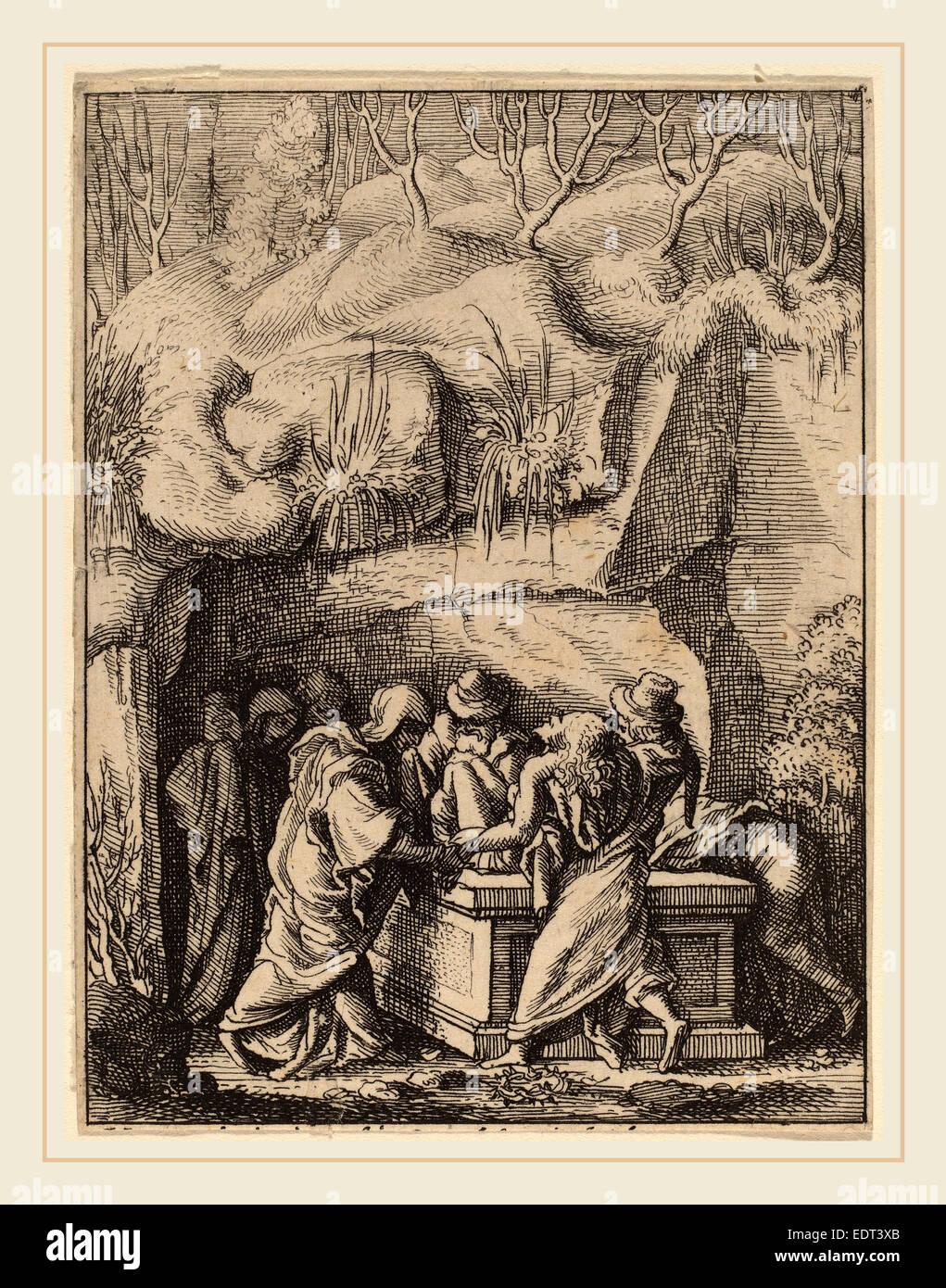Wenceslaus Hollar (Bohemian, 1607-1677), The Entombment, etching - Stock Image
