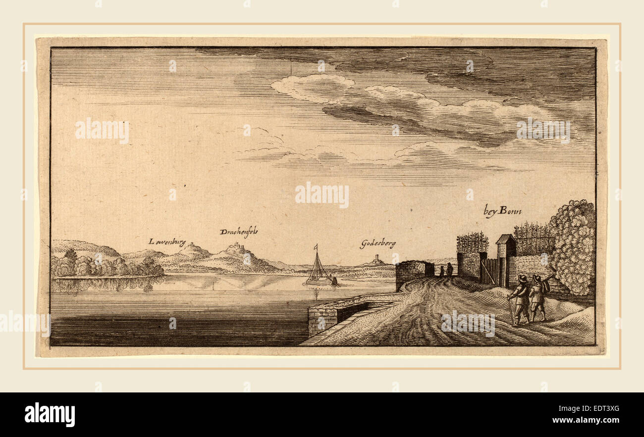 after Wenceslaus Hollar, View of Lewenberg, etching - Stock Image