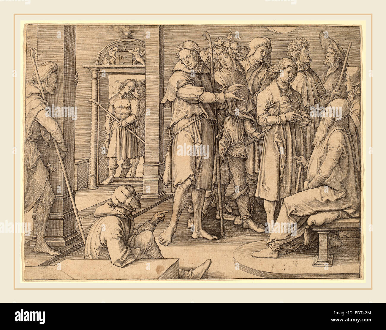 Lucas van Leyden (Netherlandish, 1489-1494-1533), Joseph Interprets His Dream to Jacob, 1512, engraving - Stock Image