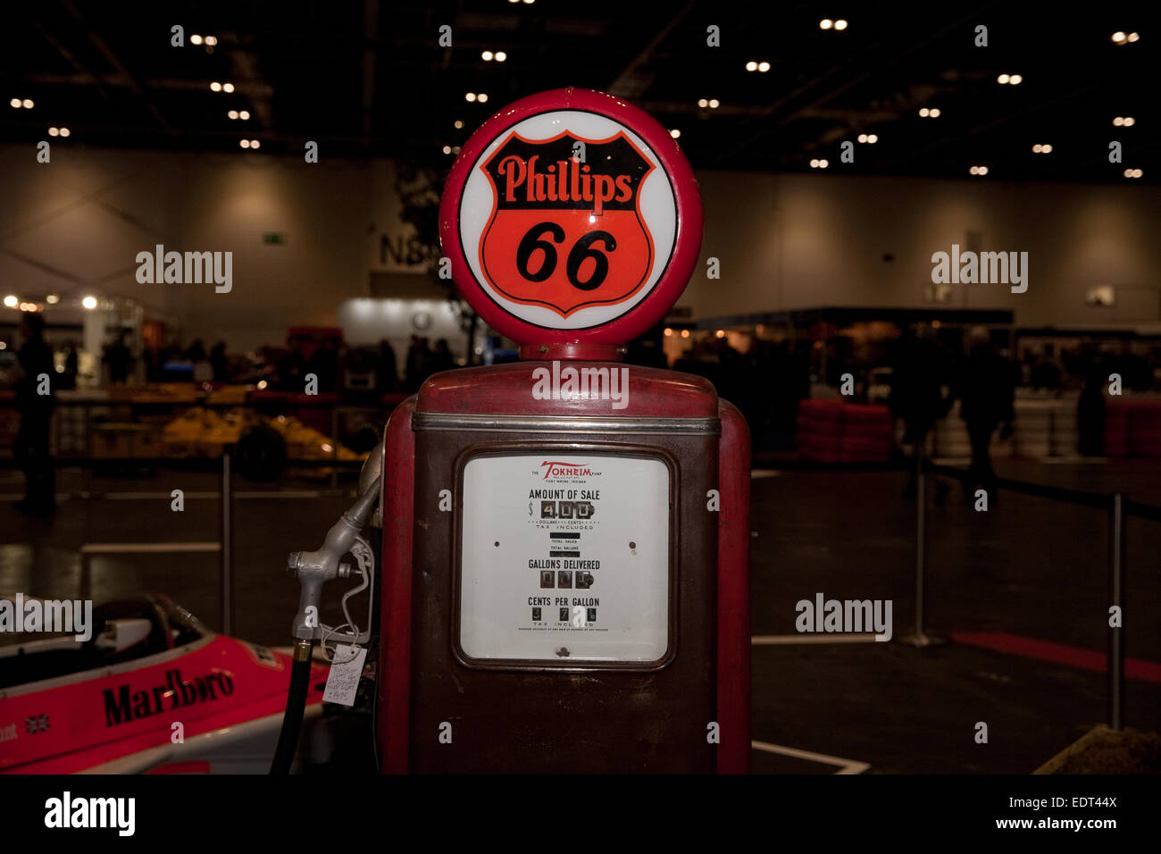 Phillips 66 petrol pump at the London Classic car show Excel