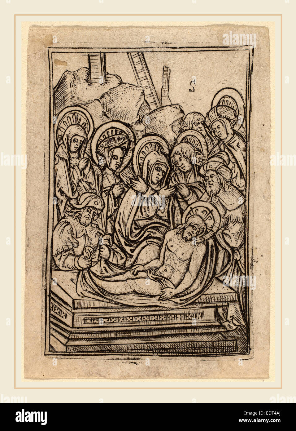 Master S (Flemish, active 1505-1520), The Entombment, engraving - Stock Image