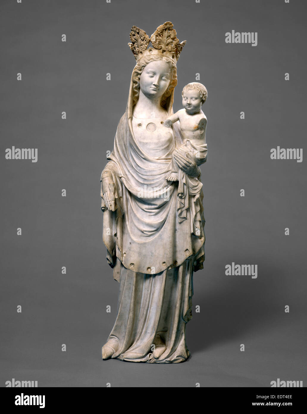French 14th Century, Virgin and Child, c. 1325-1350, marble - Stock Image