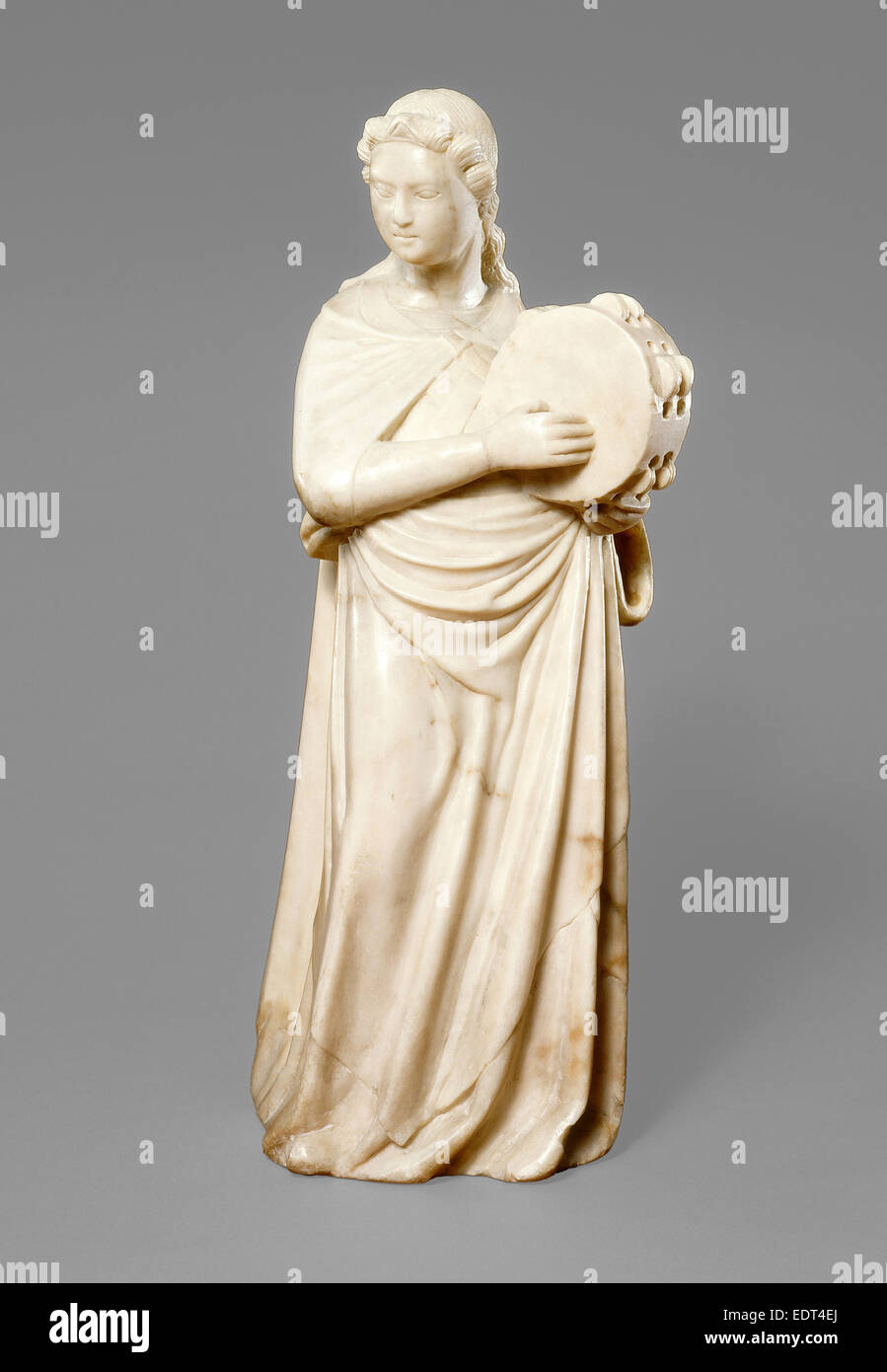 Possibly Pisan 14th Century, Angel with Tambourine, c. 1360, marble - Stock Image