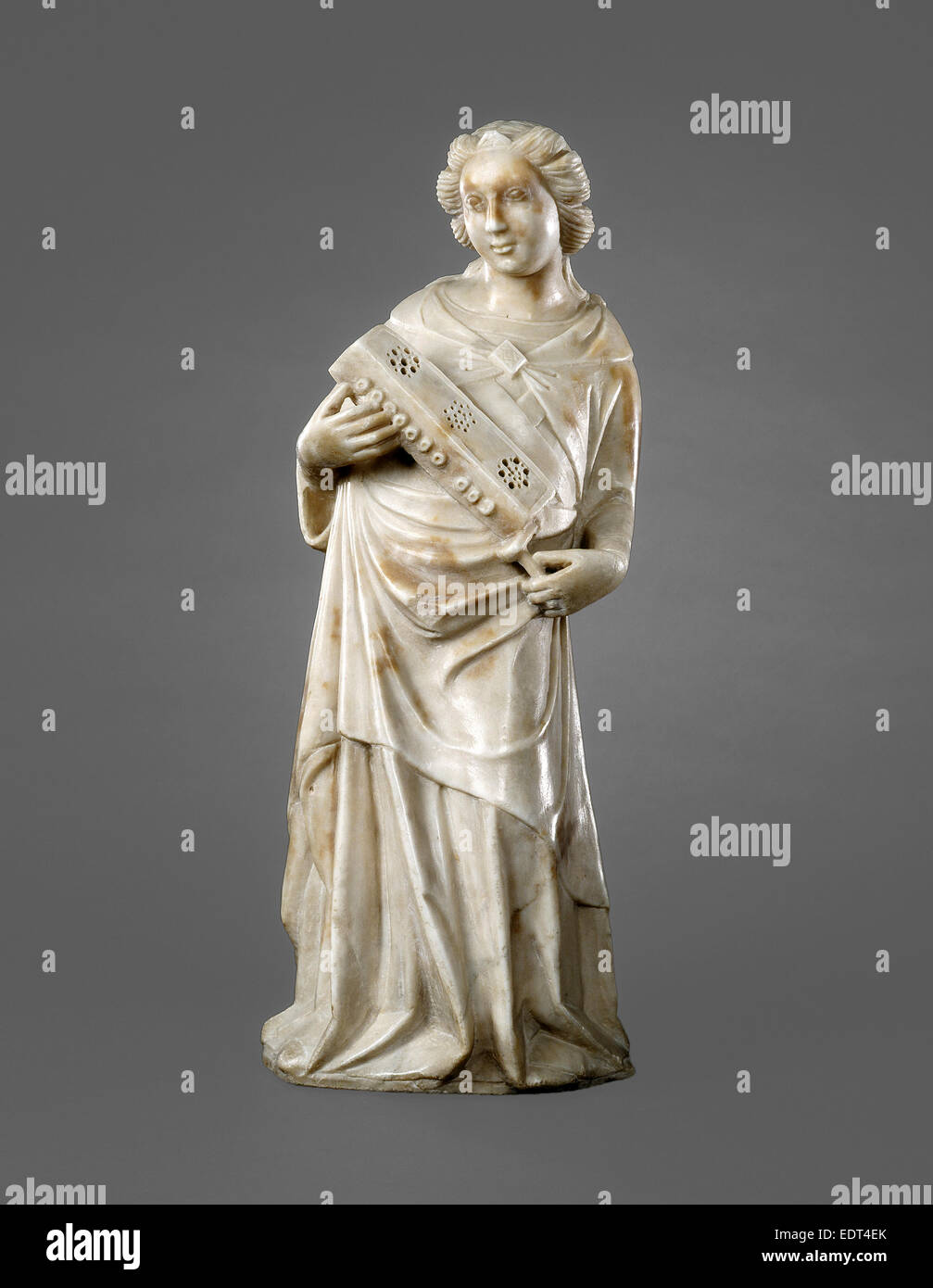 Possibly Pisan 14th Century, Angel with Symphonia, c. 1360, marble - Stock Image