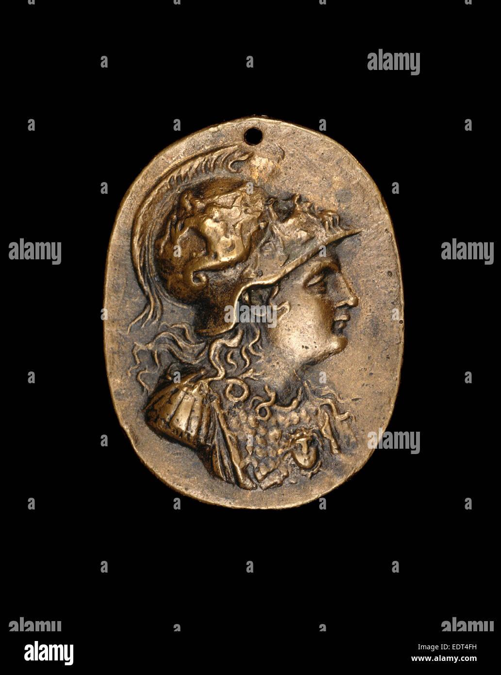 Italian 16th Century, after the Antique, Minerva, 16th century, bronze; Light brown patina - Stock Image