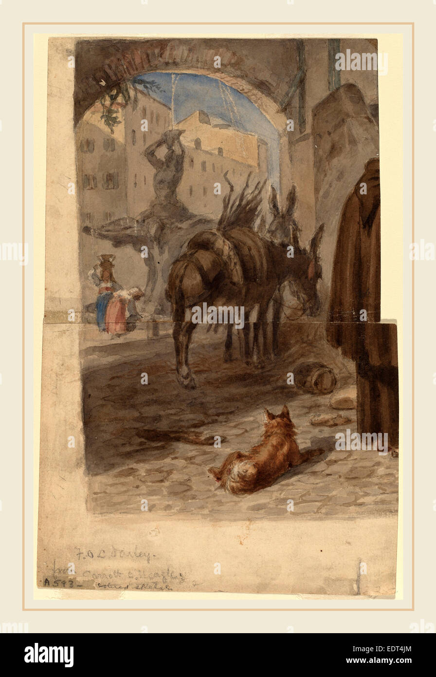 Felix Octavius Carr Darley, Bernini Fountain, Rome [recto], American, 1822-1888, gouache over graphite on two joined - Stock Image