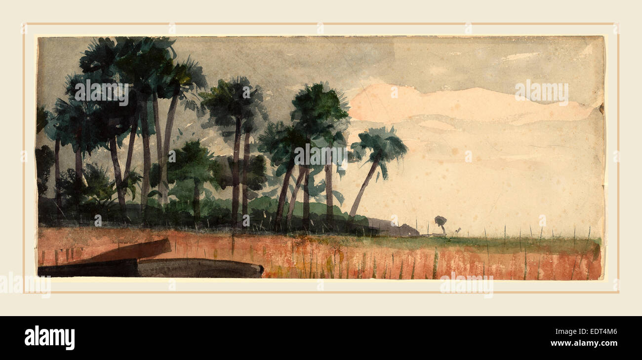 Winslow Homer, Palm Trees, Red, American, 1836-1910, 1890, watercolor over graphite - Stock Image