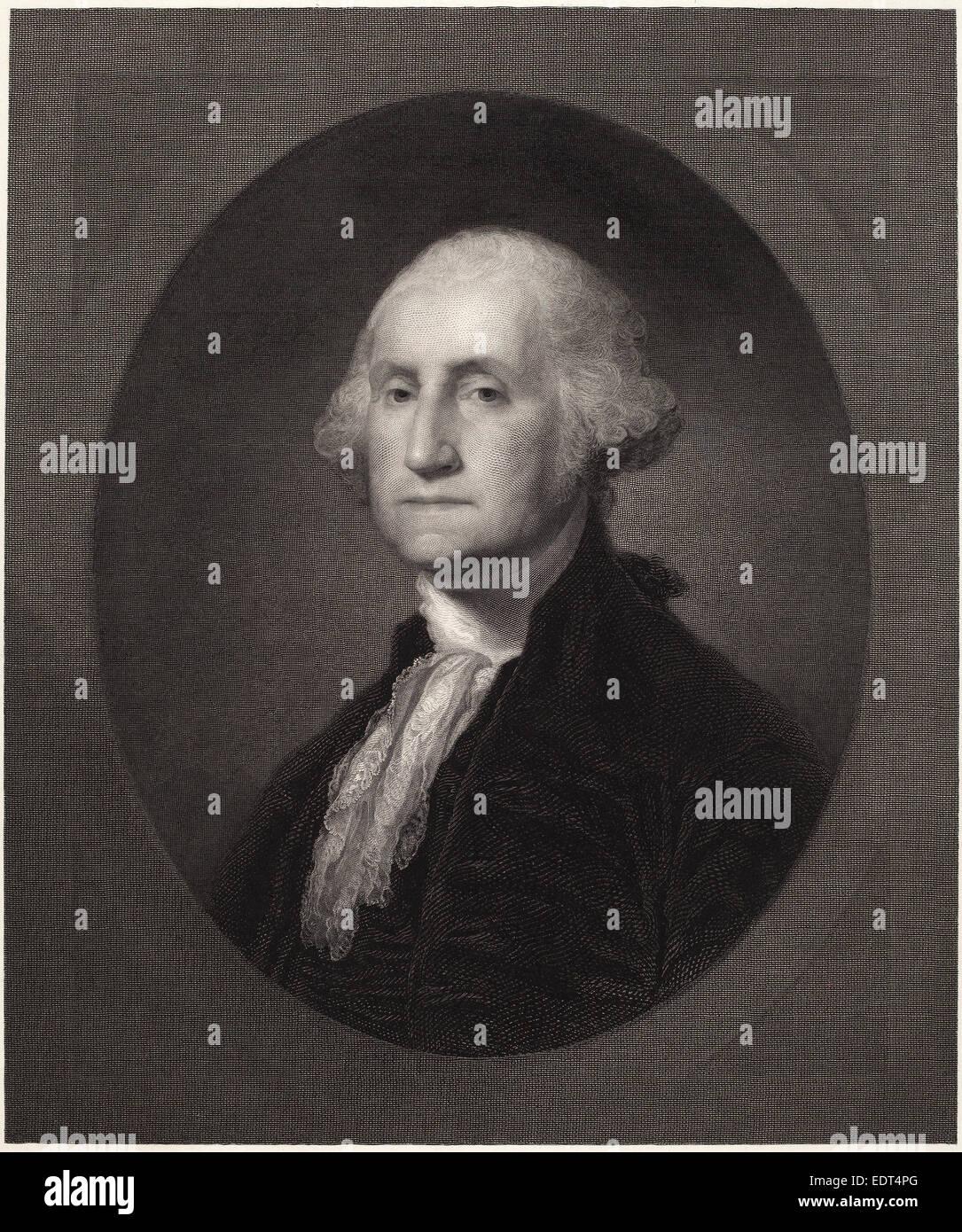 William Edgar Marshall, George Washington, American, 1837 - 1906, c. 1862, engraving on paperboard - Stock Image