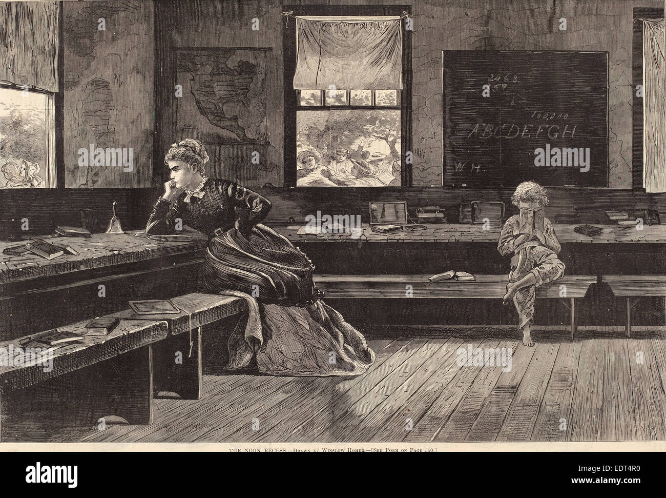 after Winslow Homer, The Noon Recess, published 1873, wood engraving on newsprint - Stock Image