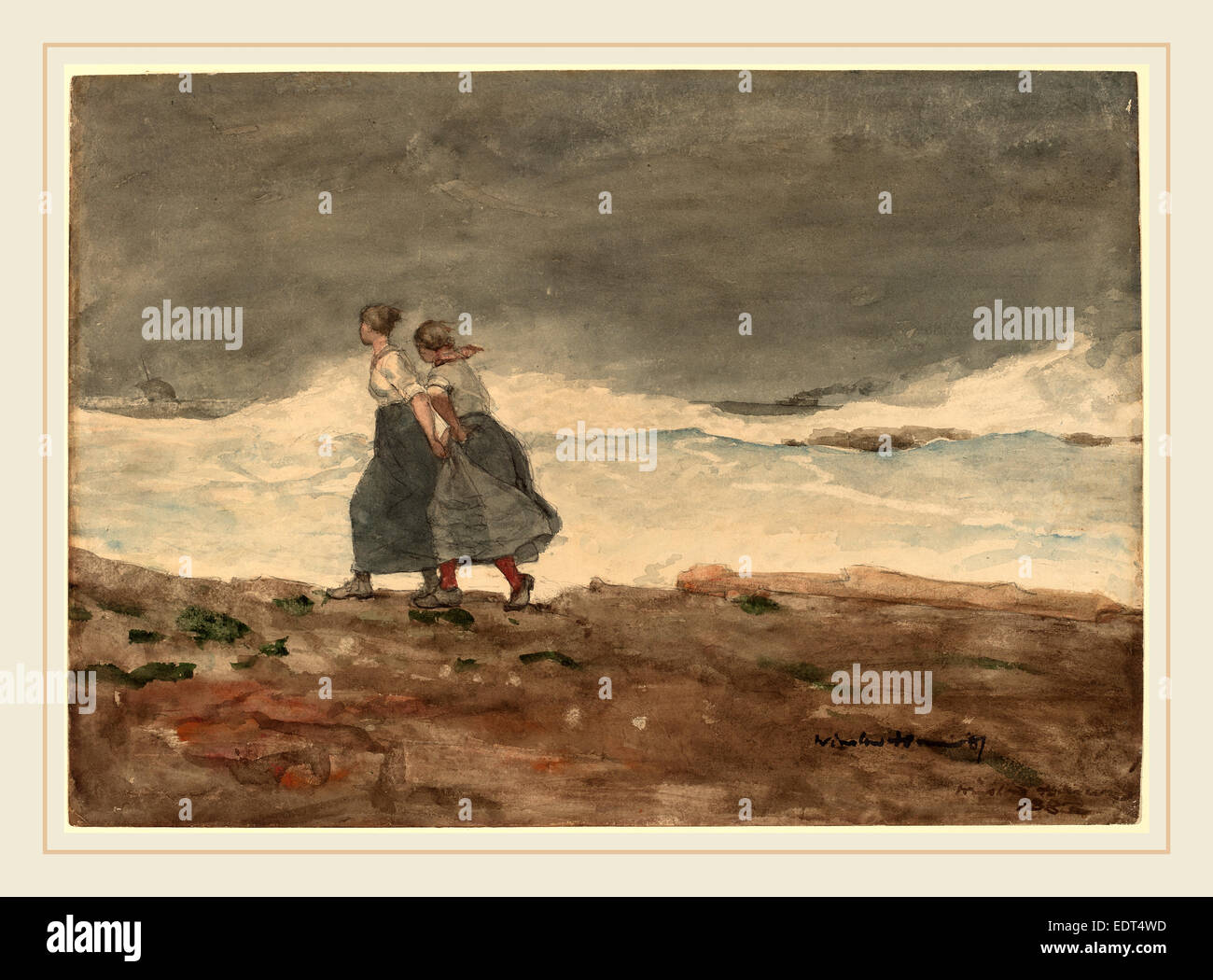 Winslow Homer, Danger, American, 1836-1910, 1883 and 1887, watercolor and gouache over graphite - Stock Image
