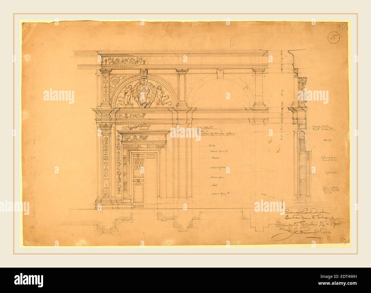 John Russell Pope, Siena Cathedral, Entrance to Library, American, 1874-1937, c. 1896, graphite - Stock Image