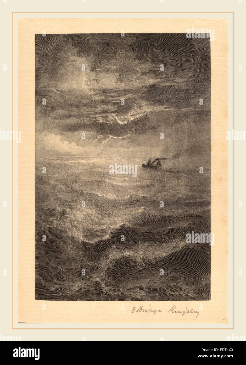 Elbridge Kingsley, At Sea, American, 1842-1918, c. 1883, wood engraving - Stock Image
