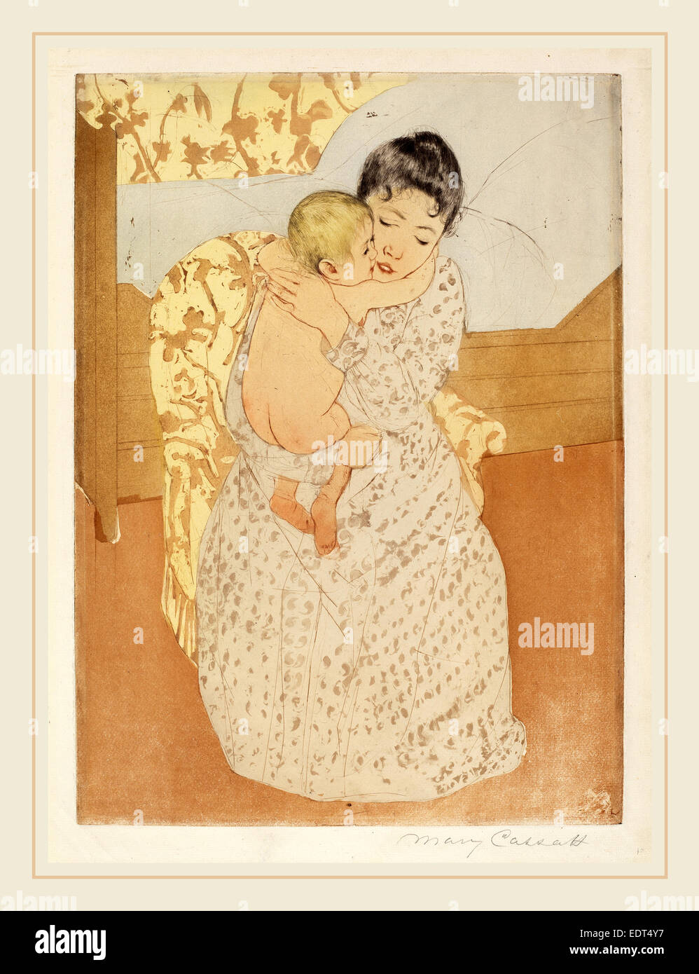 Mary Cassatt, Maternal Caress, American, 1844-1926, c. 1891, color drypoint and soft-ground etching on cream wove - Stock Image