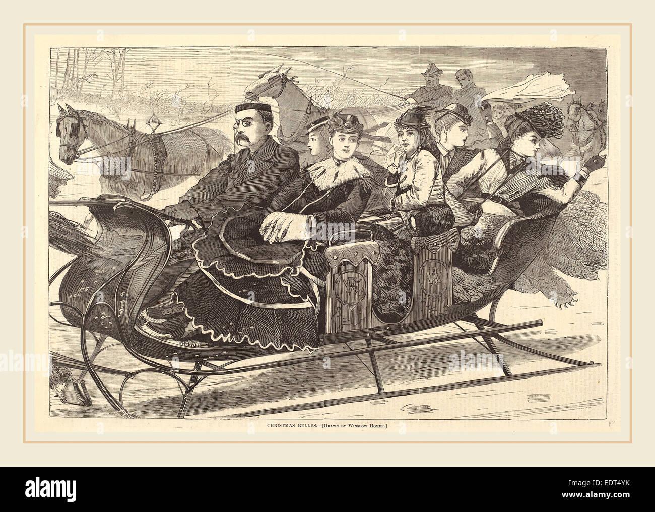 after Winslow Homer, Christmas Belles, published 1869, wood engraving - Stock Image