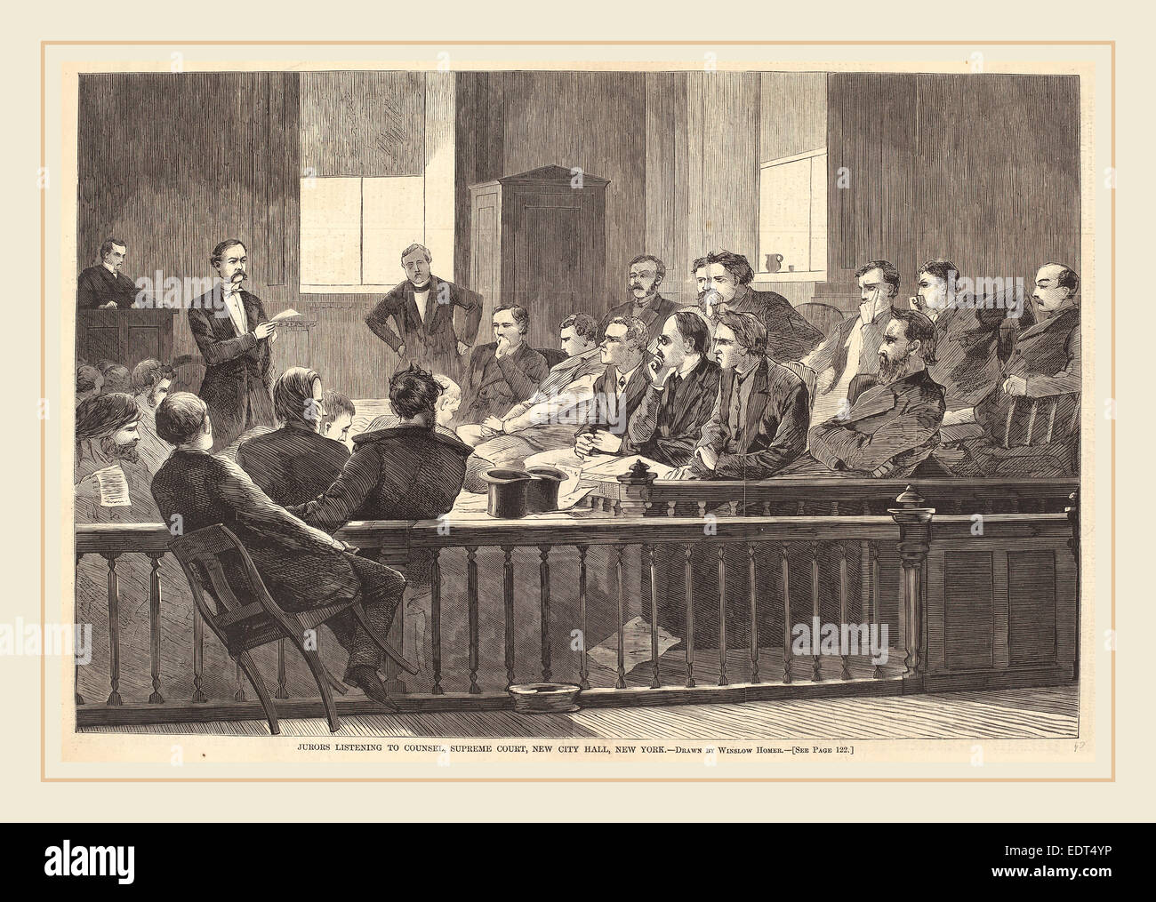 after Winslow Homer, Jurors Listening to Counsel, Supreme Court, New City Hall, New York, published 1869, wood engraving - Stock Image