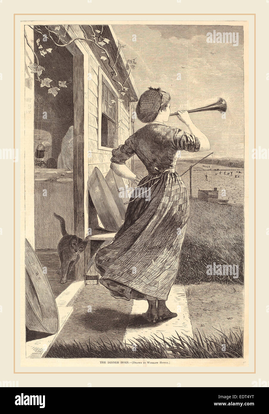 after Winslow Homer, The Dinner Horn, published 1870, wood engraving - Stock Image