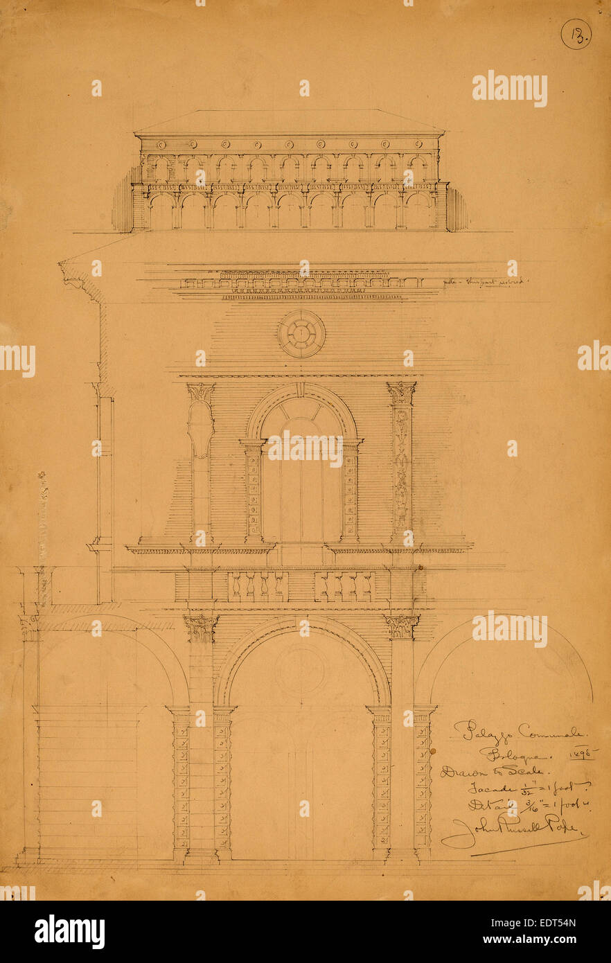 John Russell Pope, Palazzo Communale, Bologna, American, 1874 - 1937, 1898, graphite - Stock Image