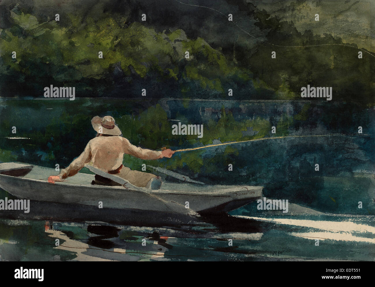 Winslow Homer, Casting, Number Two, American, 1836 - 1910, 1894, watercolor over graphite - Stock Image