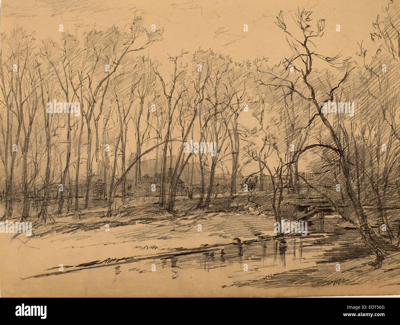 Walter Shirlaw, Munich Factory, American, 1838 - 1909, graphite - Stock Image