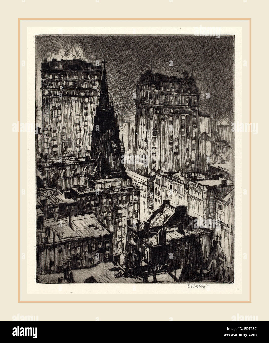 Earl Horter, The Dark Tower, American, 1881-1940, 1919, etching - Stock Image