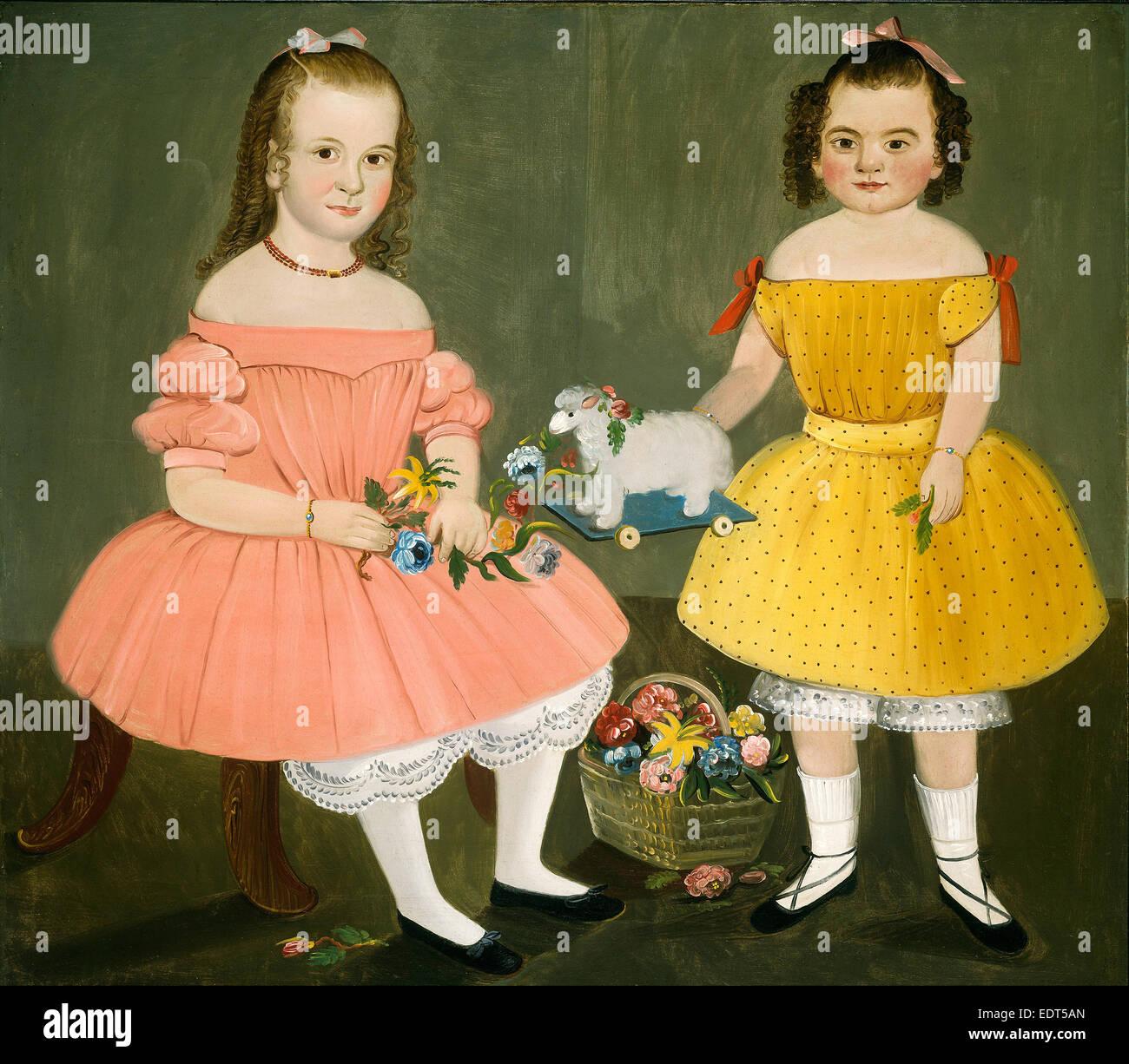 William Matthew Prior, The Burnish Sisters, American, 1806-1873, 1854, oil on canvas - Stock Image