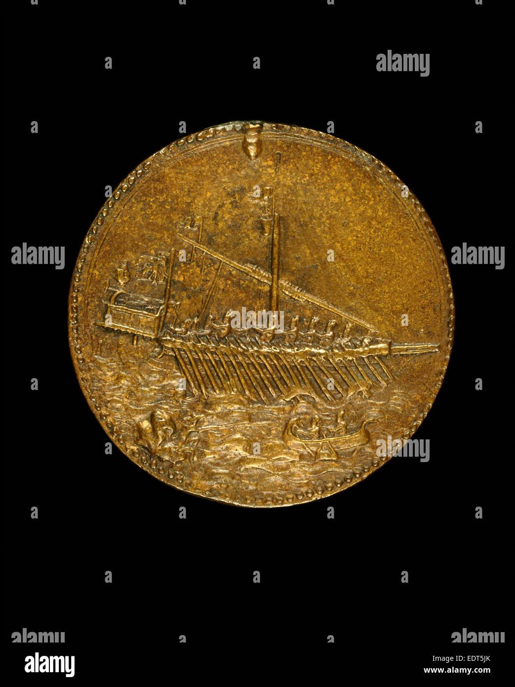 Leone Leoni, Galley and Small Boat [reverse], Italian, c. 1509-1590, 1541, bronze - Stock Image