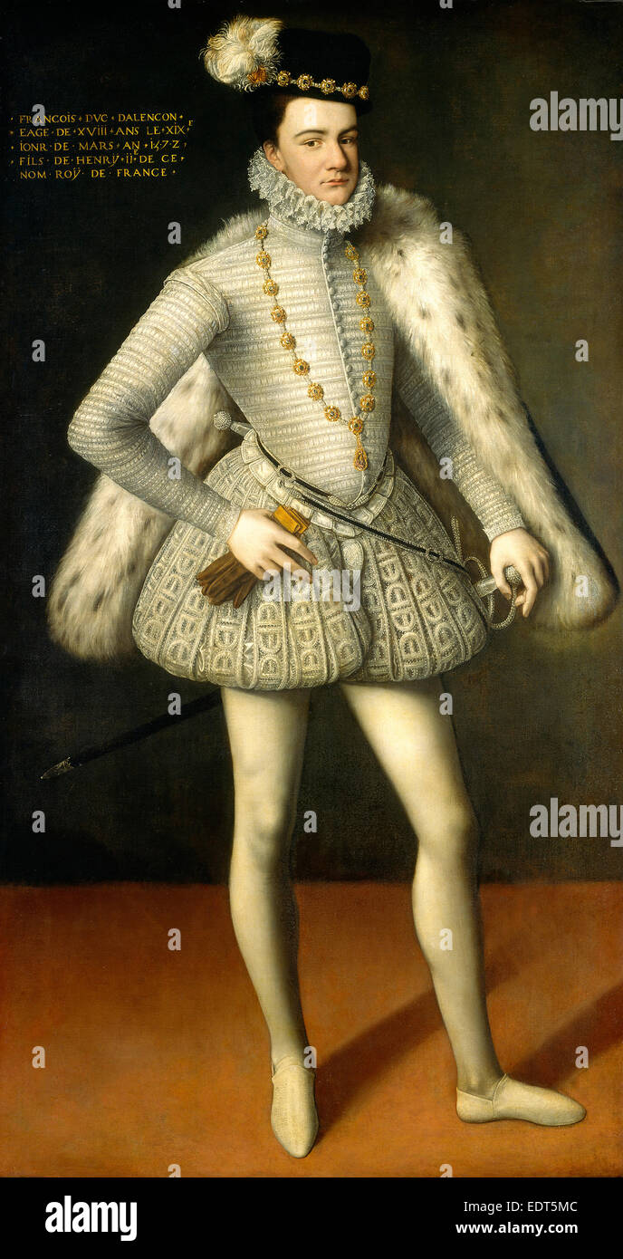 French 16th Century, Prince Hercule-François, Duc d'Alençon, 1572, oil on canvas - Stock Image