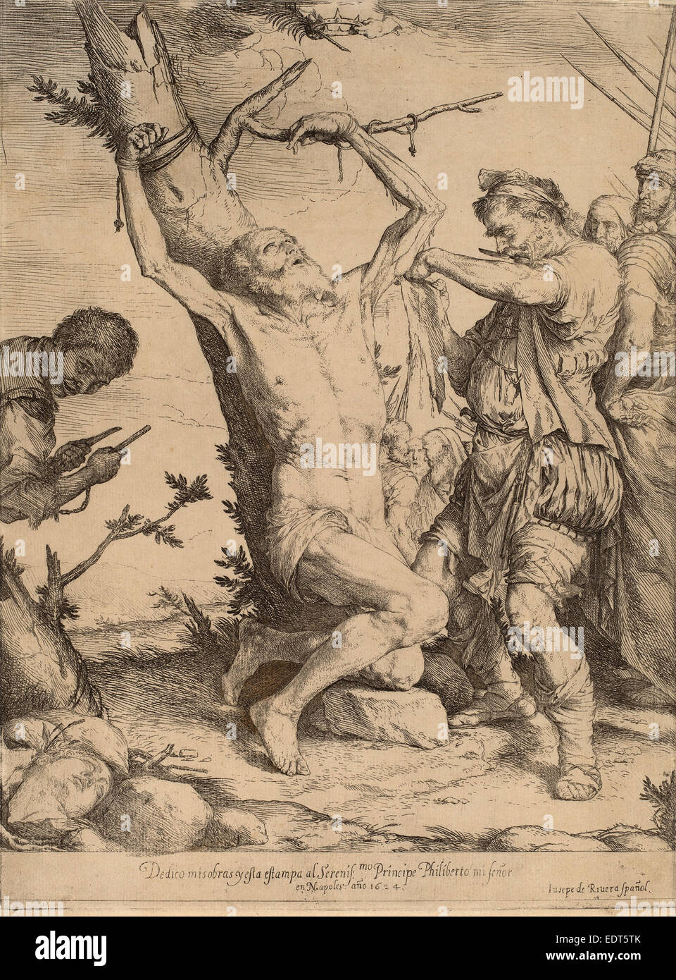 Jusepe de Ribera, The Martyrdom of Saint Bartholomew, Spanish, 1591 - 1652, 1624, etching and engraving - Stock Image