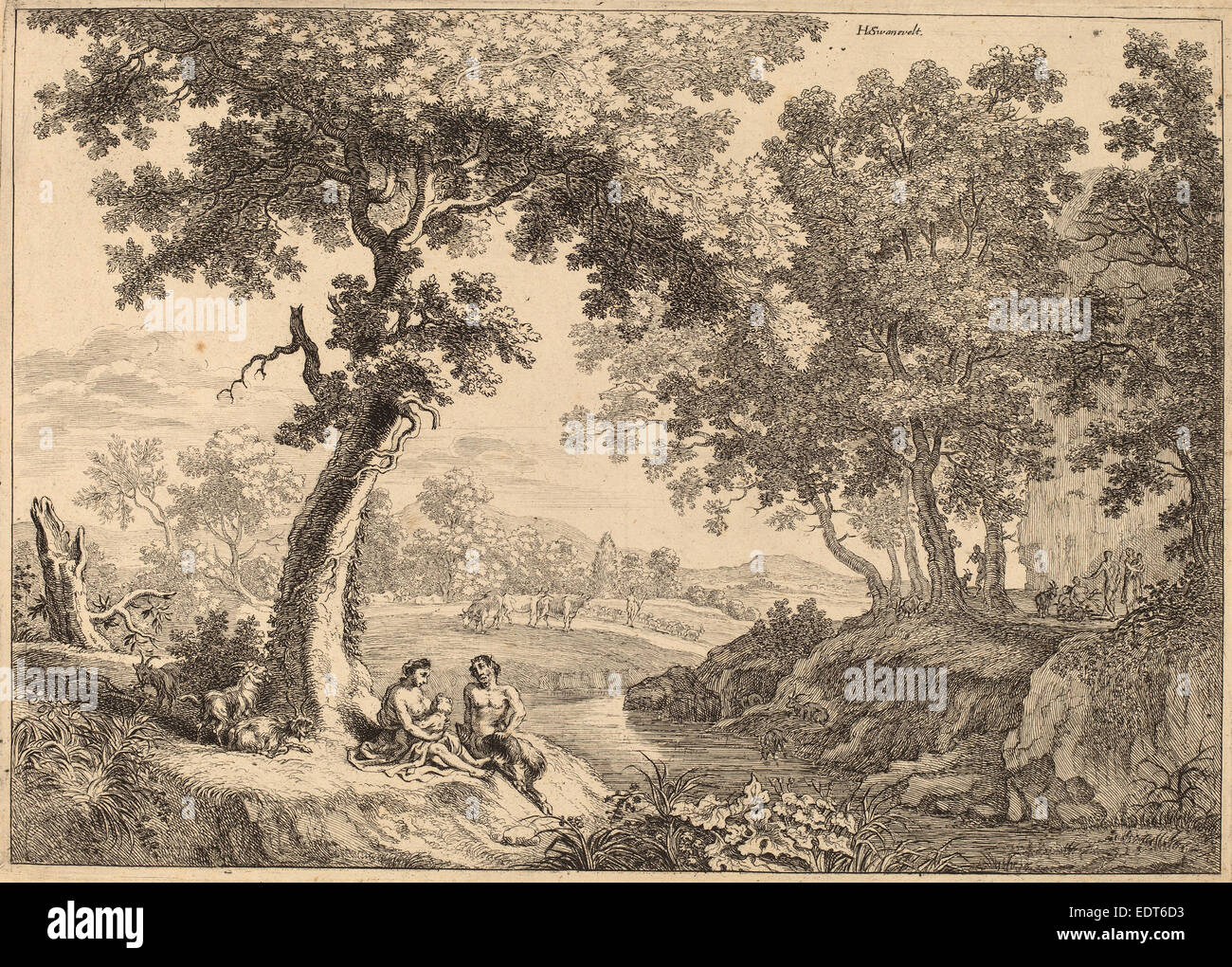after Herman van Swanevelt, Satyr Family Seated under a Tree, etching - Stock Image