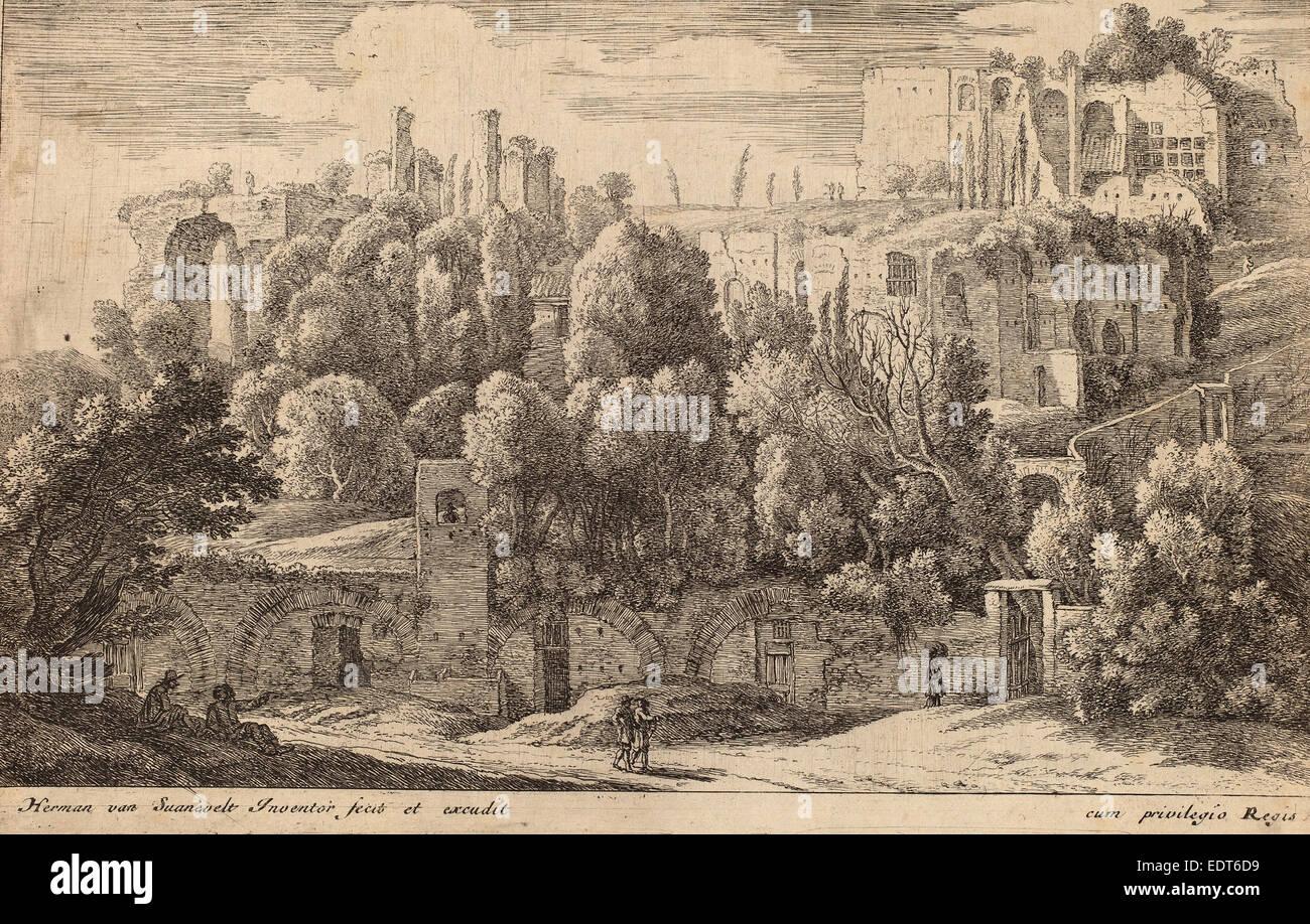 Herman van Swanevelt (Dutch, c. 1600 - 1655), Antique Ruins of an Amphitheatre, etching - Stock Image