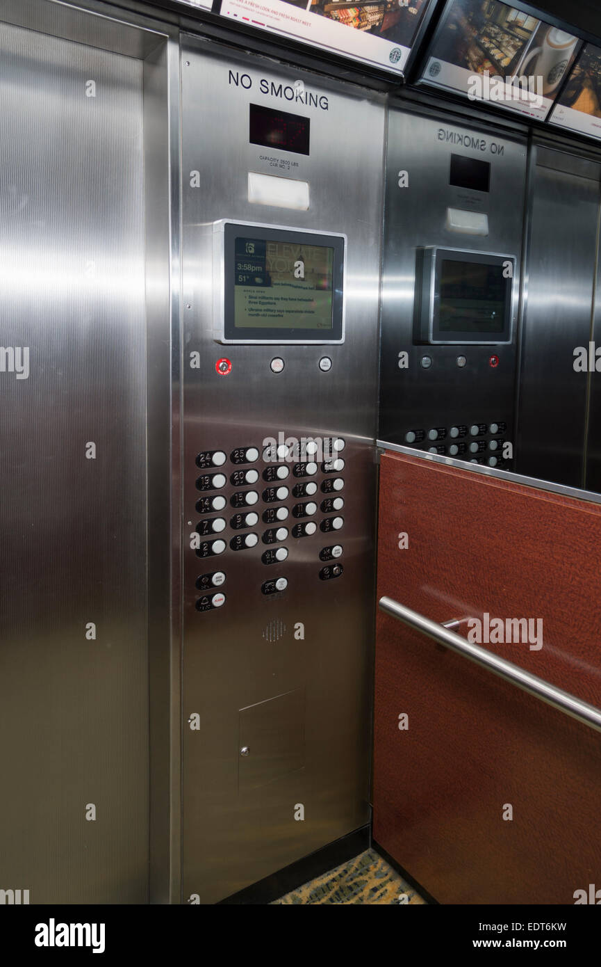 Inside Elevator, Chicago, USA - Stock Image