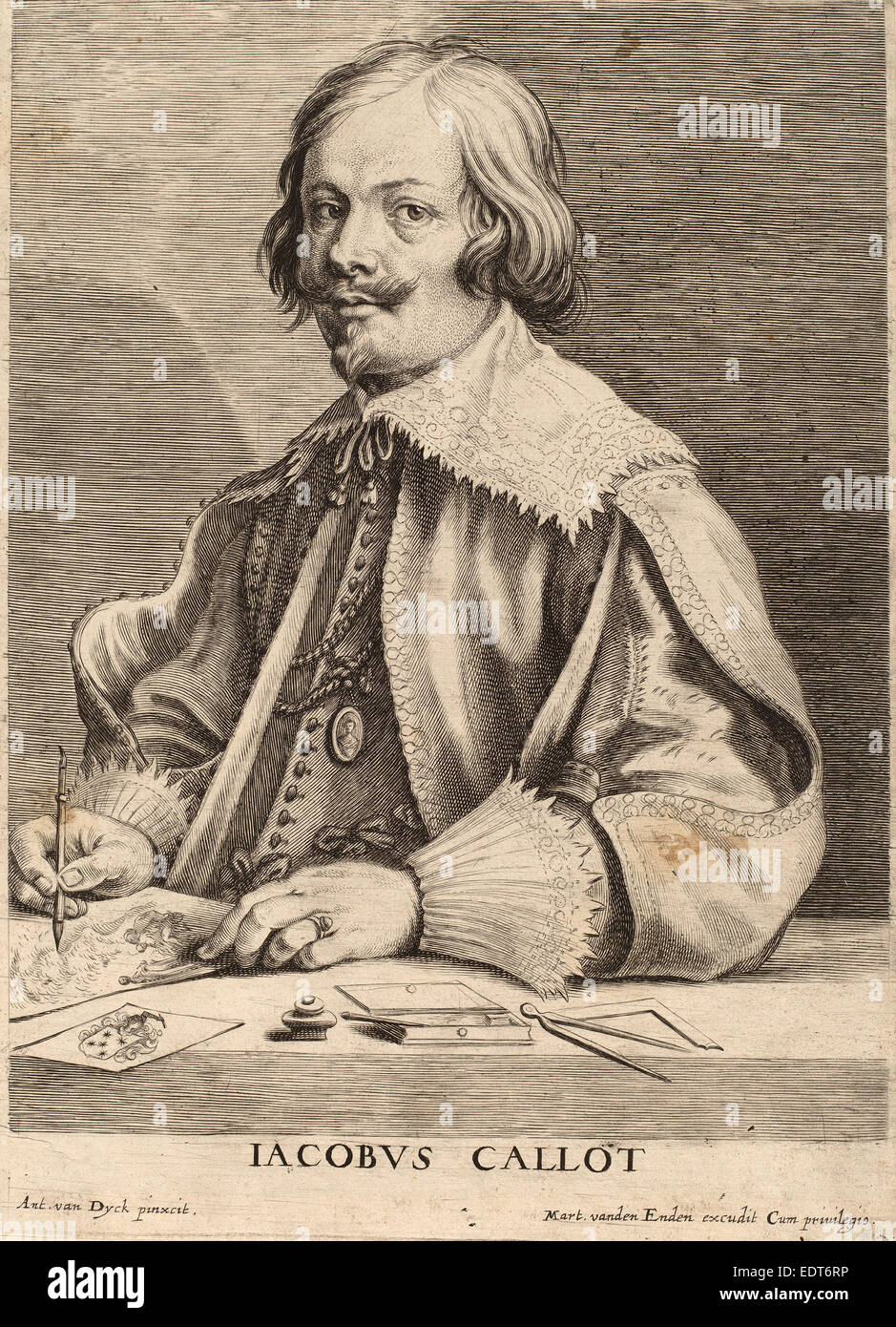 Lucas Emil Vorsterman after Sir Anthony van Dyck (Flemish, 1595 - 1675), Jacques Callot, engraving - Stock Image