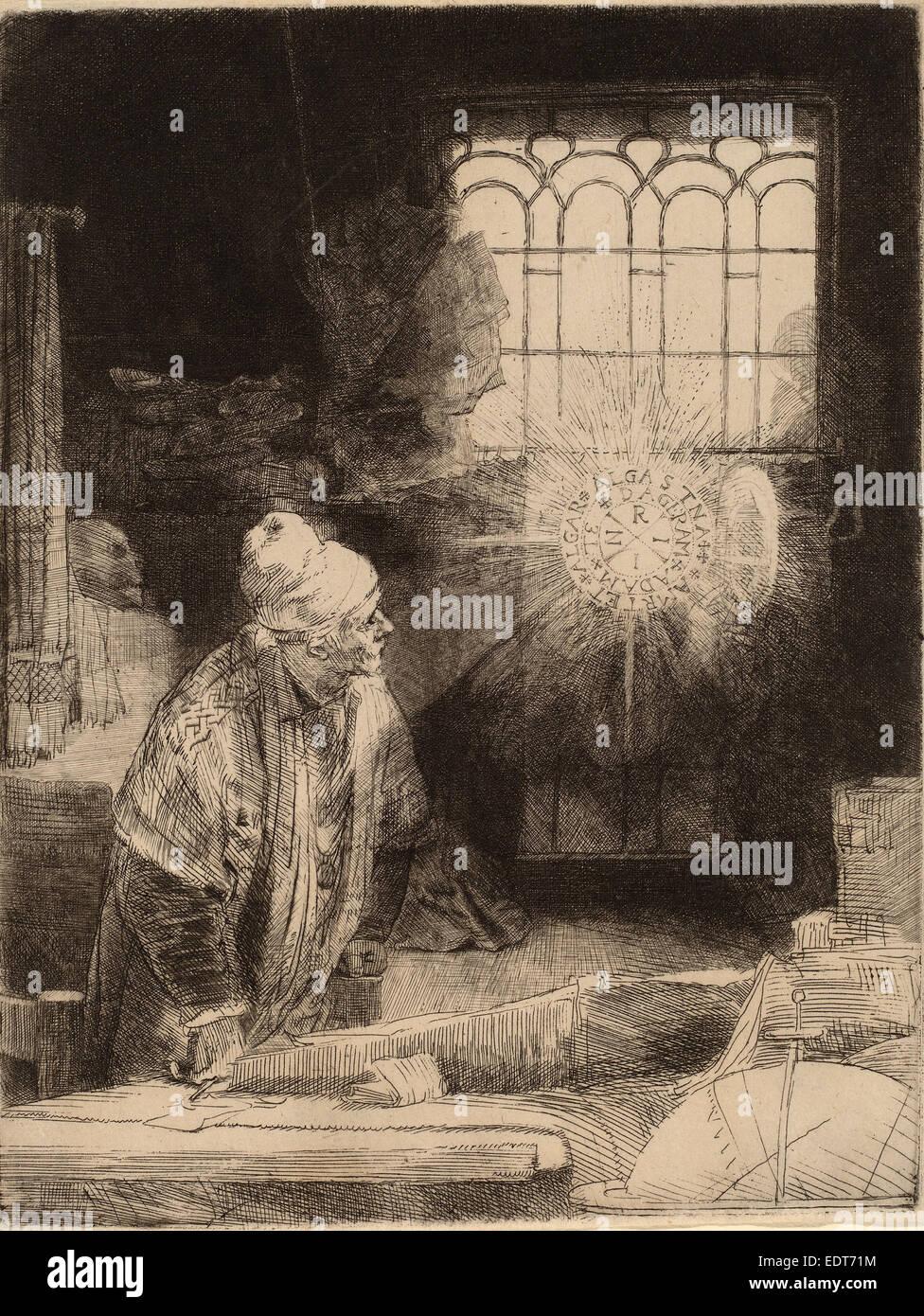 Rembrandt van Rijn (Dutch, 1606 - 1669), Faust, c. 1652, etching, drypoint and burin - Stock Image