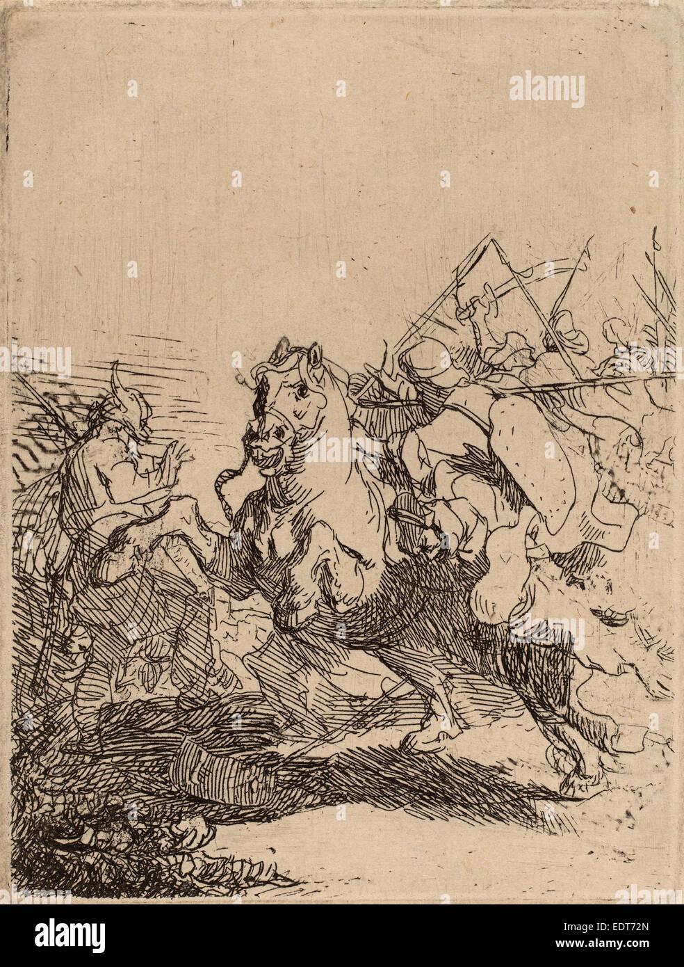 Rembrandt van Rijn (Dutch, 1606 - 1669), A Cavalry Fight, c. 1632, etching - Stock Image