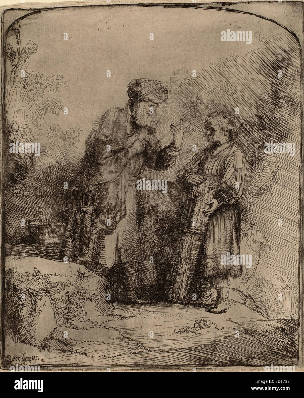 Rembrandt van Rijn (Dutch, 1606 - 1669), Abraham and Isaac, 1645, etching and burin - Stock Image