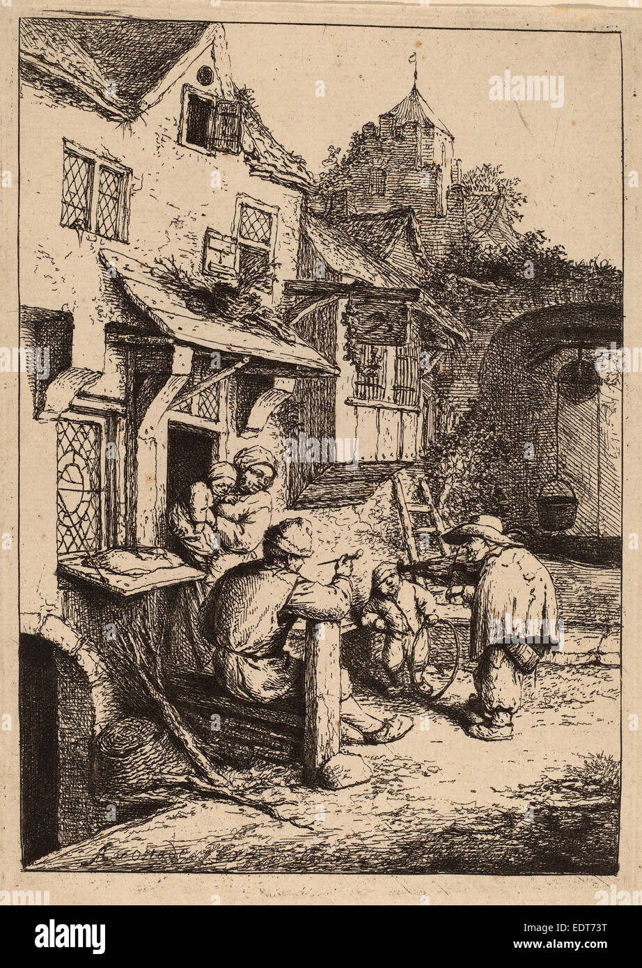 Adriaen van Ostade (Dutch, 1610 - 1685), Hunchbacked Fiddler, 1654, etching - Stock Image