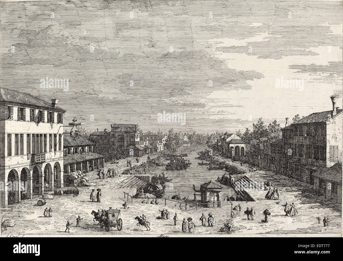 Canaletto (Italian, 1697 - 1768), Mestre, c. 1735-1746, etching - Stock Image