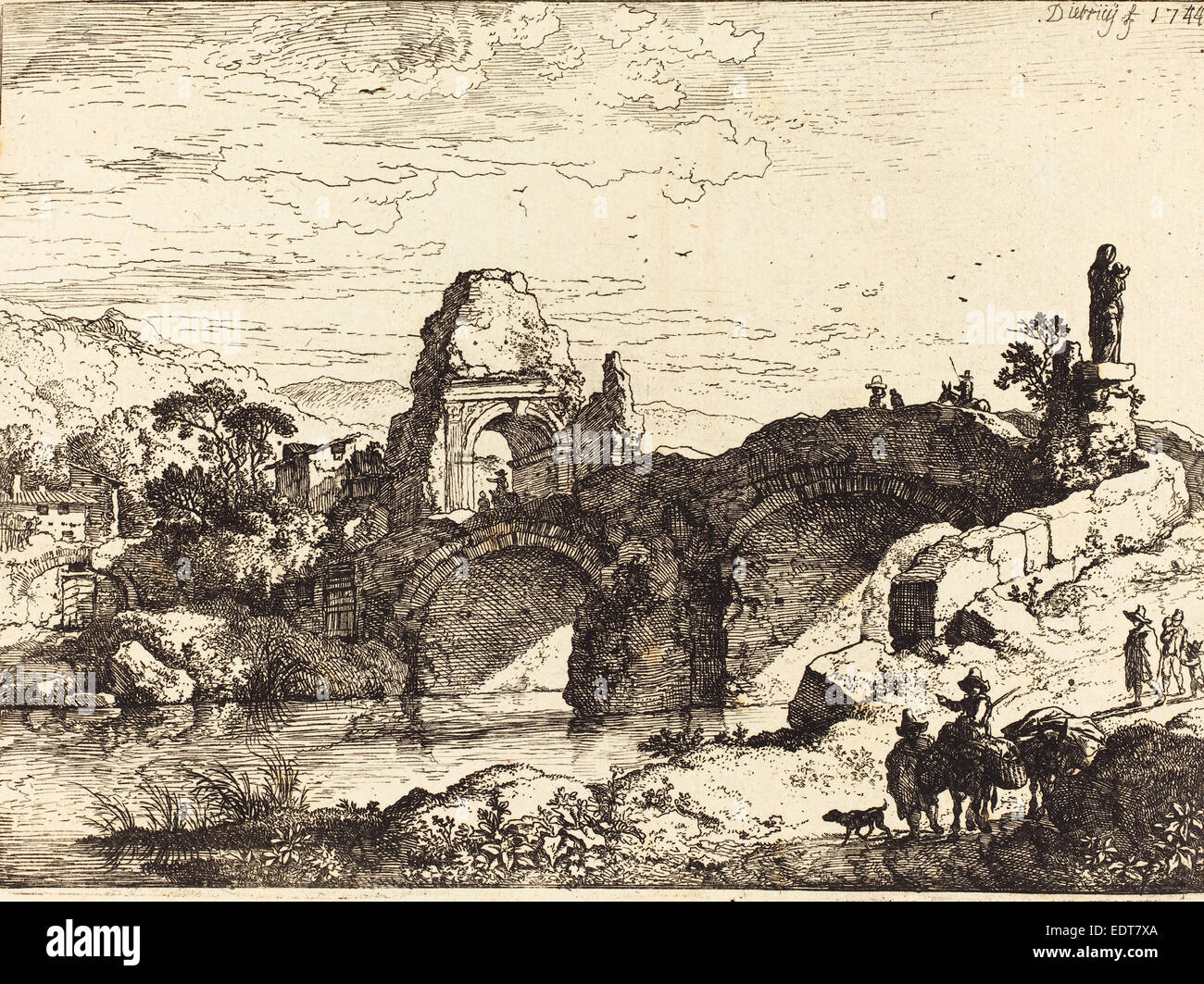 Christian Wilhelm Ernst Dietrich (German, 1712 - 1774), Landscape with a  Bridge and Ruined Tower, 1744, etching
