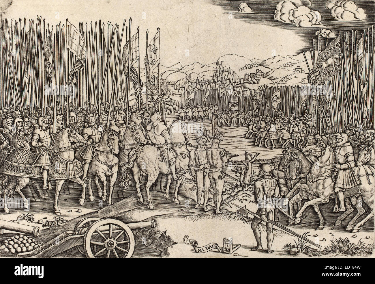 Master NA.DAT with the Mousetrap (Italian, active c. 1512), The Two Armies at the Battle of Ravenna, probably c. - Stock Image