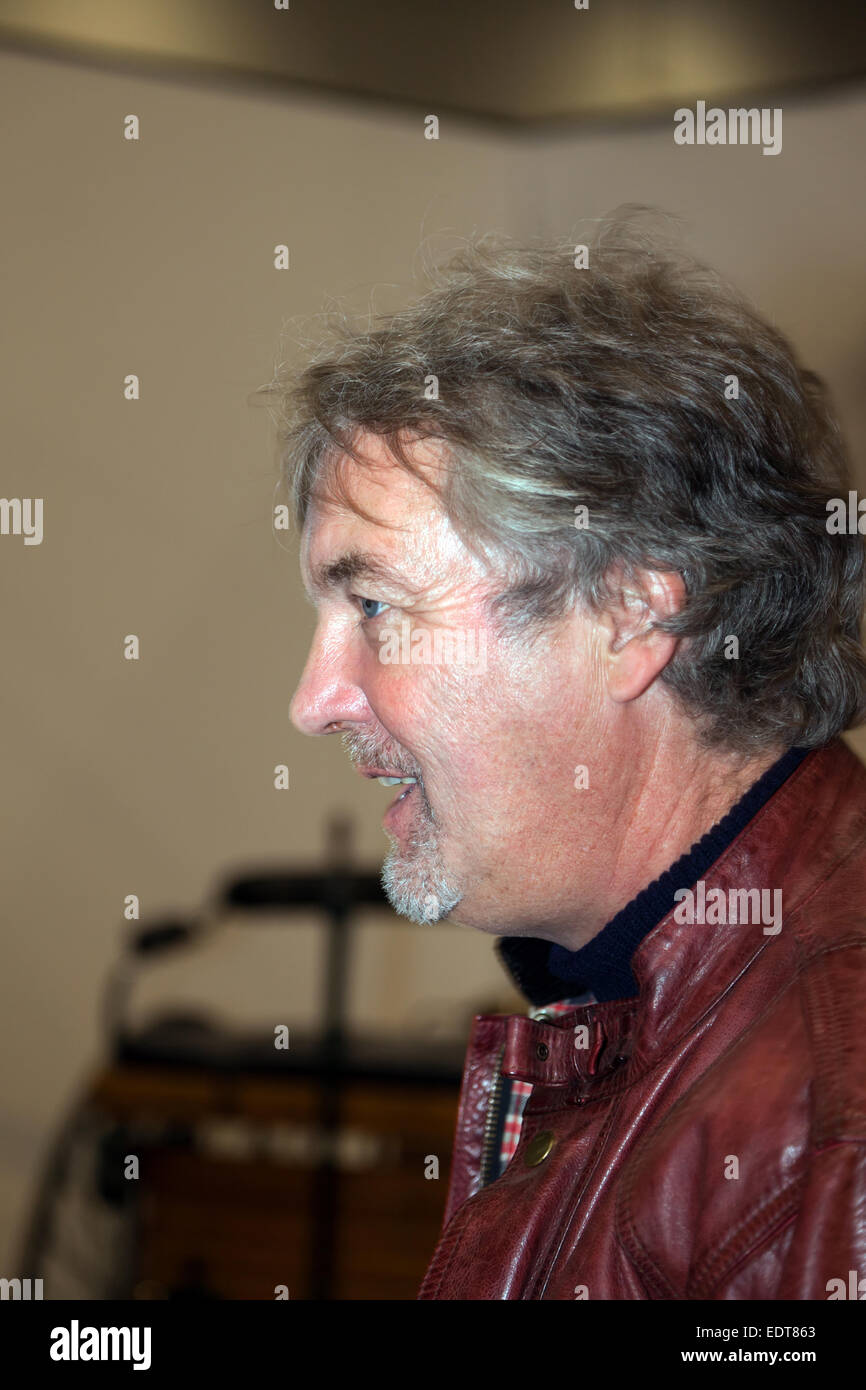 James May,  at the opening of his special exhibit,  at the London  Classic Car Show. 'Cars that Changed the - Stock Image