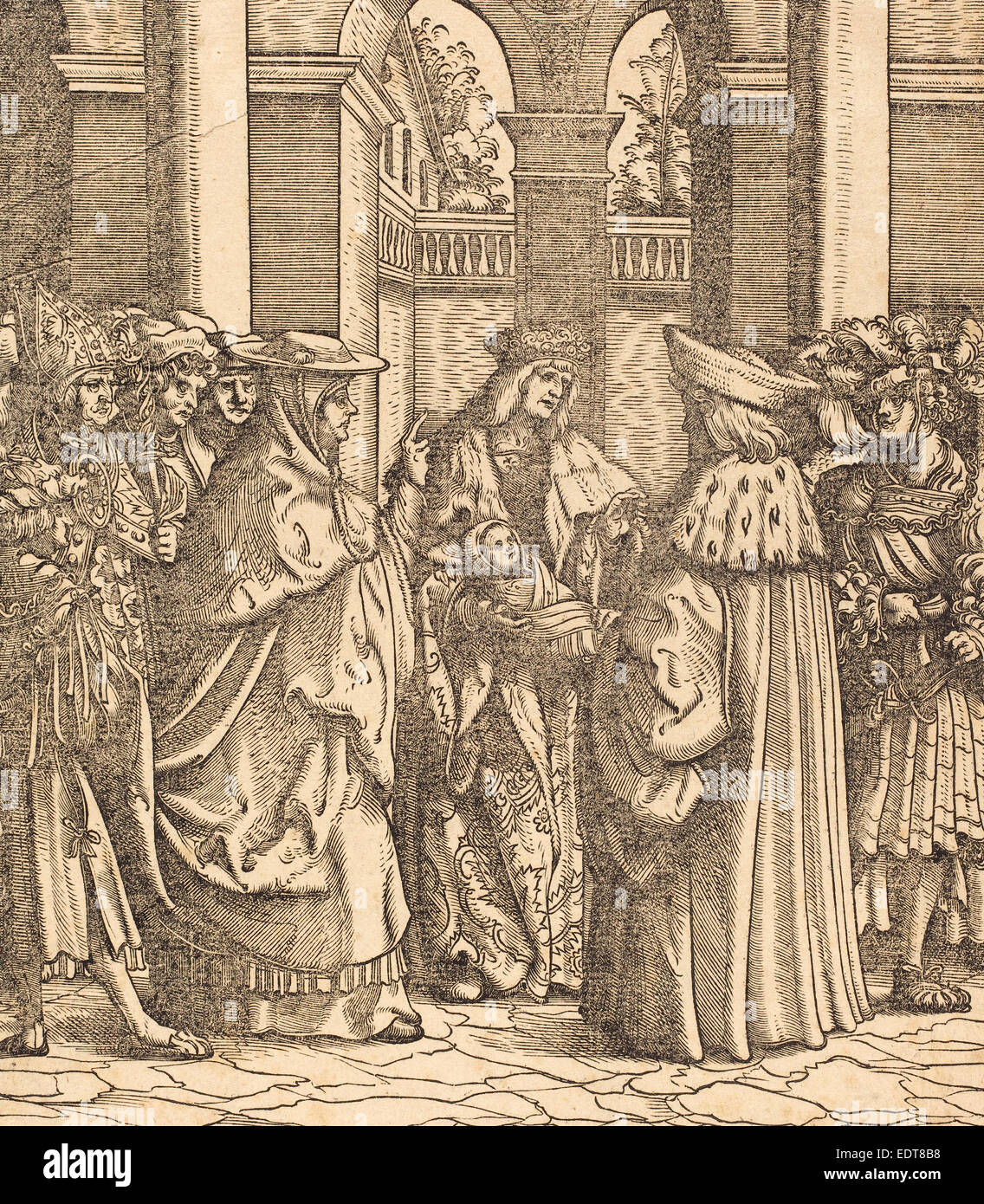 Hans Burgkmair I (German, 1473 - 1531), The Archbishop Blessing the Child  after the Baptism, woodcut