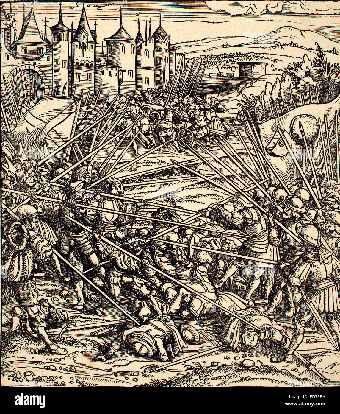 Hans Burgkmair I (German, 1473 - 1531), Battle of the Foot Soldiers with  Lances, woodcut