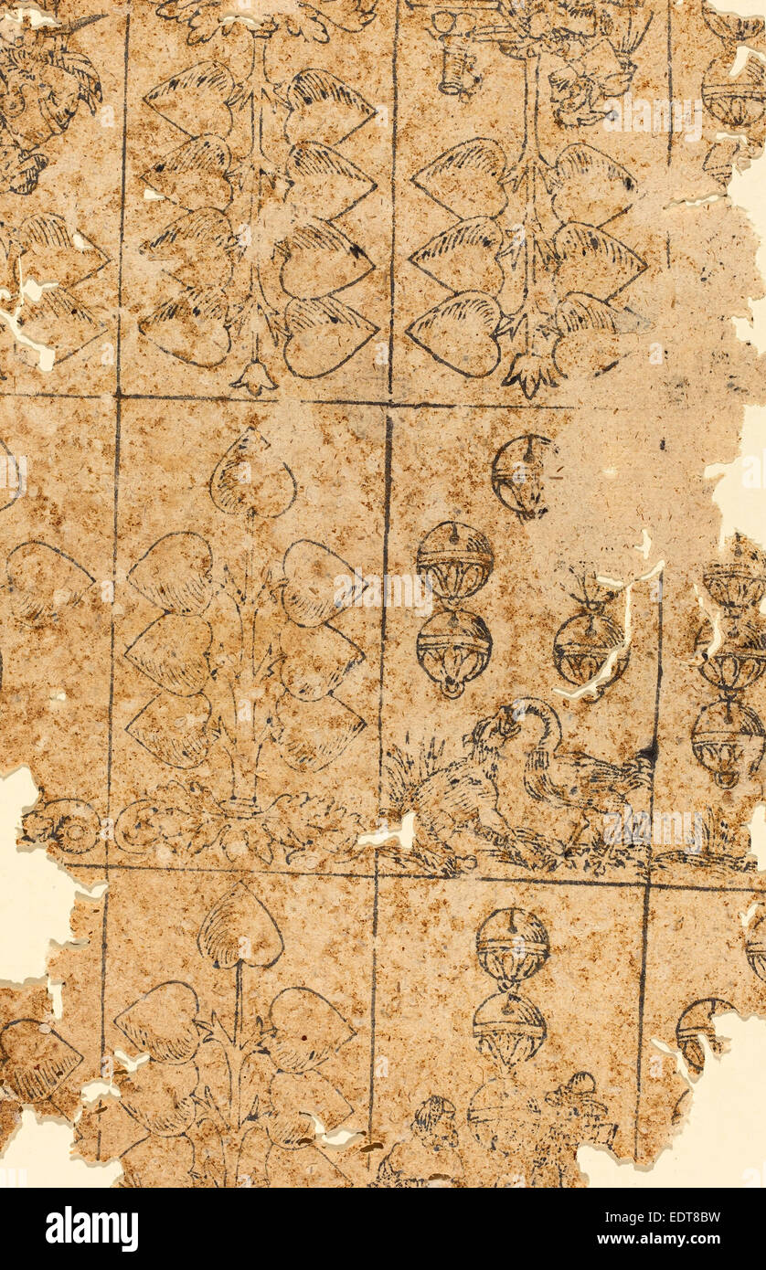 German 16th Century, Playing Card, woodcut - Stock Image