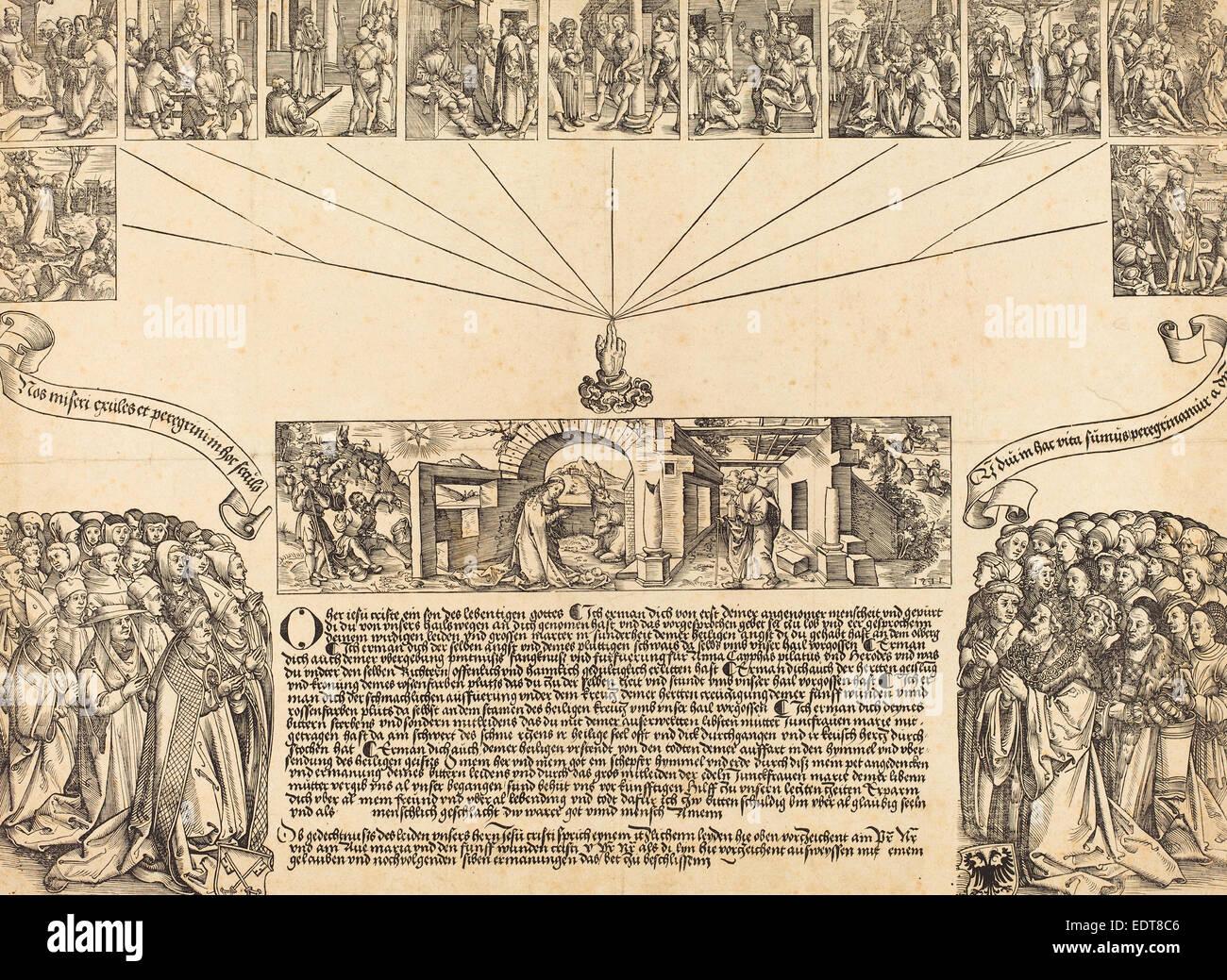 Wolf Traut (German, c. 1486 - 1520), The Nativity, woodcut - Stock Image