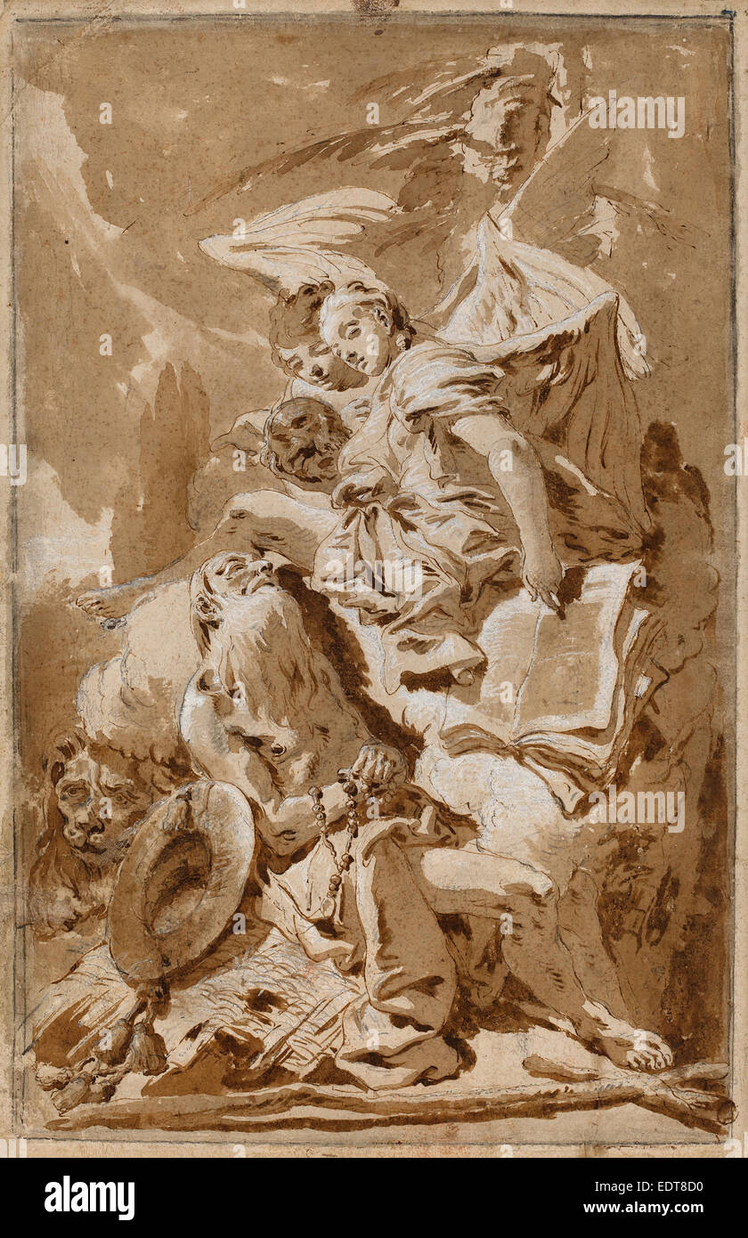 Giovanni Battista Tiepolo (Italian, 1696 - 1770), Saint Jerome in the  Desert Listening to the Angels, 1728-1735, pen